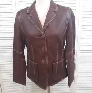 CAbi brown leather jacket coat sz 8